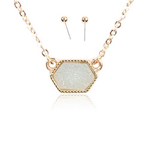 RIAH FASHION Acrylic Faux Druzy Jewel Stone Hexagon Oval Pendant Necklace - Delicate Chain/Sparkly Crystal Beaded Strand (Hexagon Chain - - Jewelry Faux Gemstone