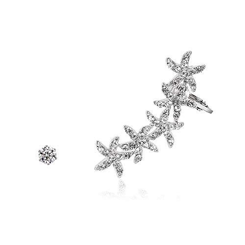Trendy Asymmetric Star Clip Earrings Sweet Crystal Snowflake Earring for Women Wrap Ear Cuff Jewelry (Silver)