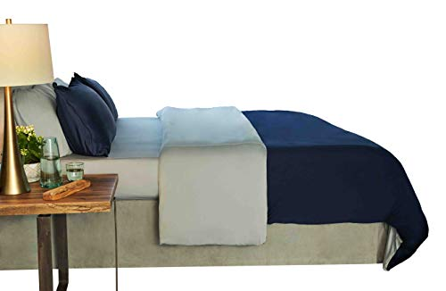 SHEEX Performance Studio-Tech Sleep System, Dual Sided Sheets for Any Temperature, Navy, Full/Queen (Studio Bedding Sets)