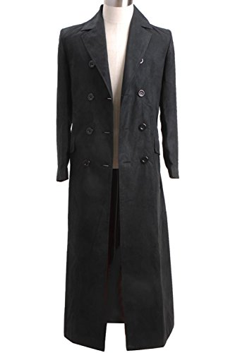 Wolfbar Men's 10th Dr Long Suede Trench Coat Halloween Costume Black Male S