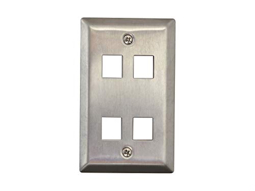 Networx Keystone Wall Plates (4 PORT, STAINLESS STEEL)
