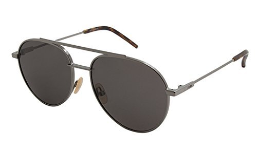 Fendi Men's F0222 Aviator Sunglasses, Dark Ruthenium, 56-16-145
