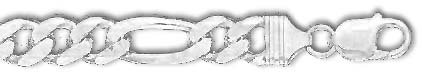 Argent Sterling 8 pouces X 11,0 mm-Maille Figaro Bracelet-JewelryWeb
