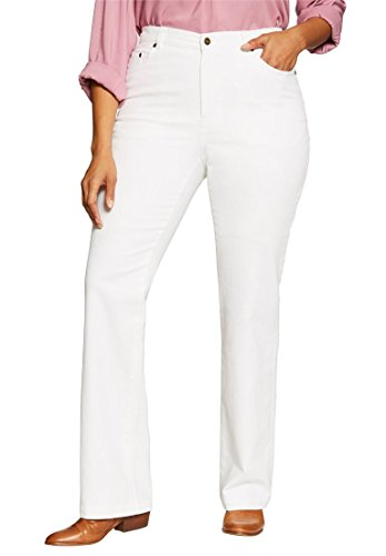 Women's Plus Size Petite Bootcut Tummy Tamer Jean White,18 Wp