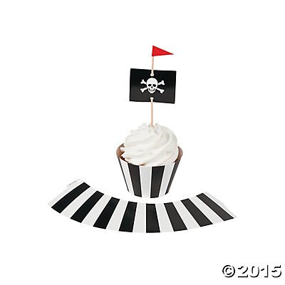 Pirate Party Cupcake Wrappers with Picks - Makes 50 Cupcakes - Pirate Cupcake