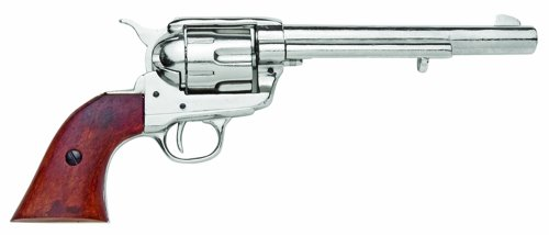 Denix Old West Replica M1873 Cavalry Single Action Revolver Non Firing Gun, Nickel