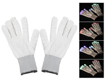 [1 Pair of LED Flashing Light Up Party Rave Gloves - Various Styles by Mammoth Sales (White)] (Michael Jackson Black Or White Costume)
