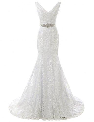 Fantastic Bridal Wedding Dress (Winnie Bride 2017 Fantastic Lace Wedding Dress V-Neck Long Fitted Bridal)