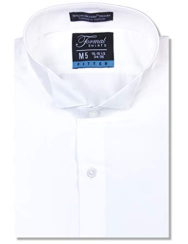 Luxe Microfiber Men's Fitted Wing Collar Convertible Cuff Tuxedo Shirt - Style Frankie White
