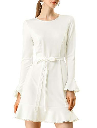 Allegra K Women's Ruffle Hem Fit Flare Belted Dress