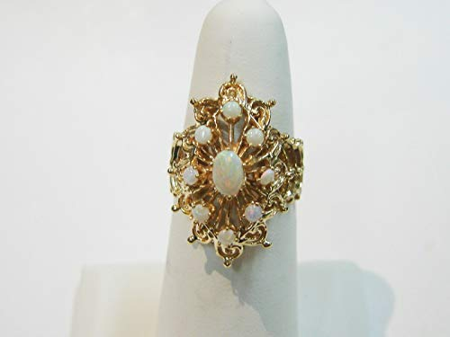 - 14K Yellow Gold 9 Opal Cocktail Ring Size 7 3/4 SD-449