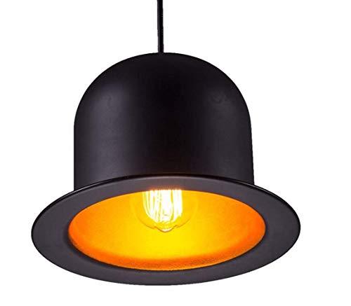 JKLcom Pendant Lighting Metal Pendant Light Black Aluminum Metal Painting Top Hat Pendant Lamp 1 Light Ceiling Fixture for Restaurant Living Room Bedroom Bar Cafe,Round Hat Shape