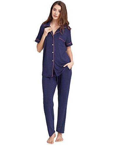 Sleepwear Sets for Women Short Sleeve Sleepshirts with Full Pants Navy Blue - Sleepshirt Sleeve Short