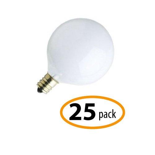 - Satco S3825 25G16-1/2, 25-watt G16-1/2 Globe Satin White / 120V, 25-Pack