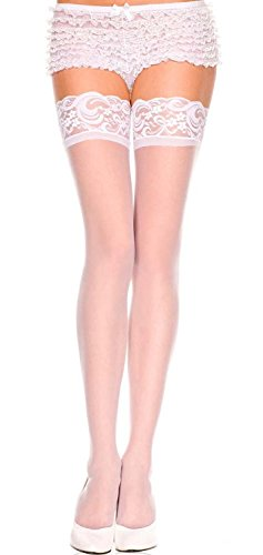 White, Std Size (100-175 lbs) - Sheer Thigh Highs with Lace Top (Color Choices)