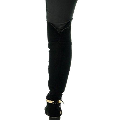 Lacets Cm Mode Talon Noir Botte Doré Sexy Souple Cavalier 2 Femme Angkorly Bloc Chaussure 5 0xOqUw44p