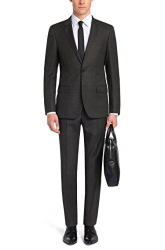 Hugo Boss Subtly Patterned Extra Slim Fit 2 Piece Men's Suit in Wool C-Huge1/C-Genius Charcoal Dot Hugo Retail Price $ 695.00