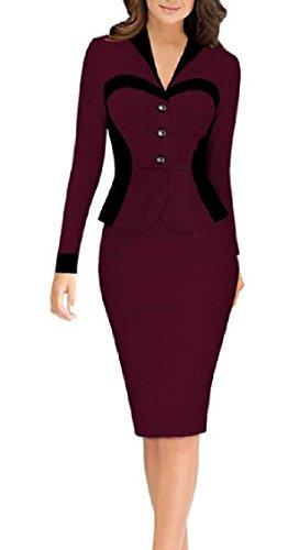 Jaycargogo to Women's Wine Party Pencil Red Work Bodycon Dress Business Wear rErqRfwZd6