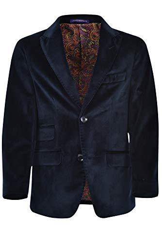 JAMES MORGAN Boys Velvet Blazer Formal Solid Color Suit Jacket, Navy Blue, -