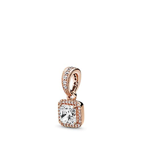 PANDORA Timeless Elegance Pendant, PANDORA Rose, Clear Cubic Zirconia, One - Gold Square Charm