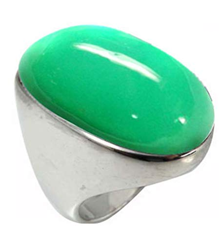 BillyTheTree Gemstone Jewelry Sterling Silver Ring with Oval Chrysoprase Stone BTS-NRB5973 CRP R