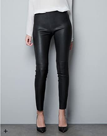 753a334f ZARA WOMENS FAUX LEATHER TROUSERS: Amazon.co.uk: Clothing