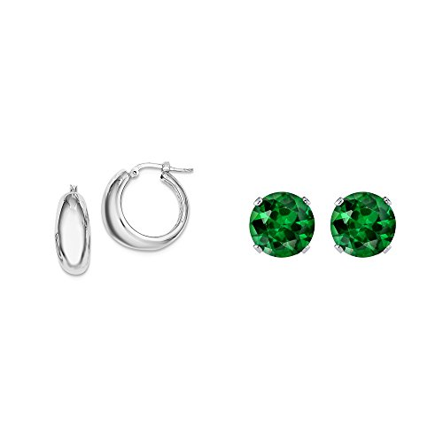 Hollow Polished Green (Sterling Silver Polished Hollow Hoop Earrings + Matching 2mm Green CZ Stud Earrings)
