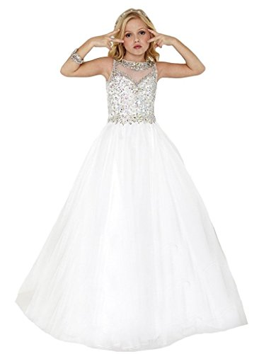 SuMeiyue Girls' White Scoop Beaded Crystal Full Party Gown Pageant Dresses, White, (White Pageant Gowns)