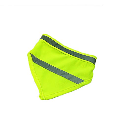 (Doublelift Dog Bandana Yellow Orange High Visibility Neon Color with White Reflective StripesTriangle Bibs Scarf Accessories Neckerchief Pet Dog Walking Safety 1Pack (L, Green))