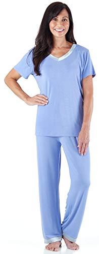 Pajama Heaven Women's Sleepwear Bamboo Jersey V-Neck Top and Pants Pajama Set with Satin Trim, Lavender (PHBJ1941-1024-SML) (Pajamas Lavender Knit)