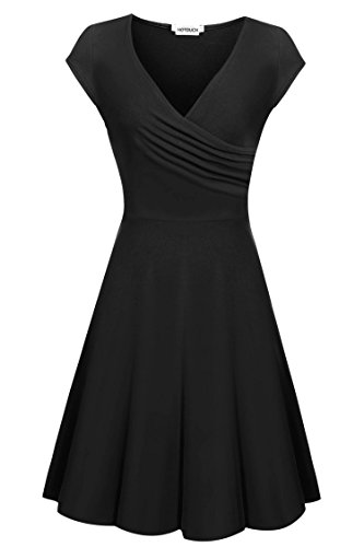 HOTOUCH Womens Dresses Party Dresses Vintage Dresses Swing Stretchy Dresses (Black M)