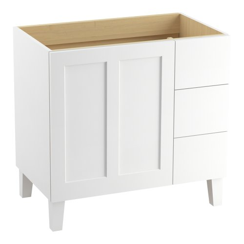 - KOHLER K-99533-LGR-1WA Poplin 36-Inch Ready-to-Assemble Bathroom Vanity in Linen White, Solid Wood