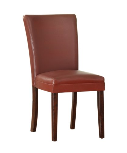 Homelegance 3276RS Bi-Cast Vinyl Bi-Cast Vinyl Parson Dining Chair (Set of 2), Lava Red