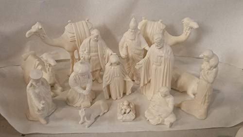 Duncan Christmas Ceramic Nativity 15 piece set 7'' to 9'' Ceramic Bisque, Ready To Paint by Creative Kreations Ceramics (Image #1)