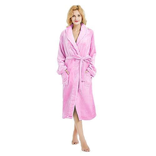 M&M Mymoon Womens Fleece Robe Soft Plush Bathrobe Long Thicken Warm Kimono Shawl Collar One Piece Homewear (S/M, Pink) ()