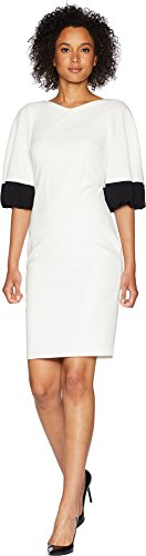 Calvin Klein Women's Color Block Bubble Sleeve Dress CD8C26ML White/Black 6