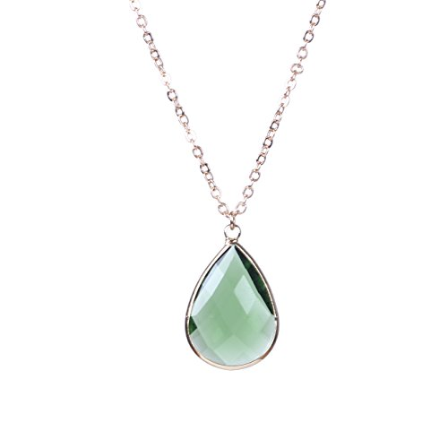 Bonnie Crystal Wrap Color Natural Stone Pendant Necklace Gold Chain Gift For Girls