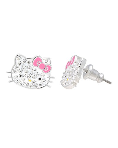 Hello Kitty Jewelry for Girls, Hello Kitty Silver Plated Clear Crystal Stud Earrings
