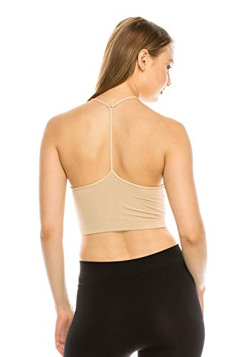 ShyCloset Sports Crop Seamless Bra - Mini Top Bralette No Pad/Wire One Size Made in USA (6461, Stone) ()