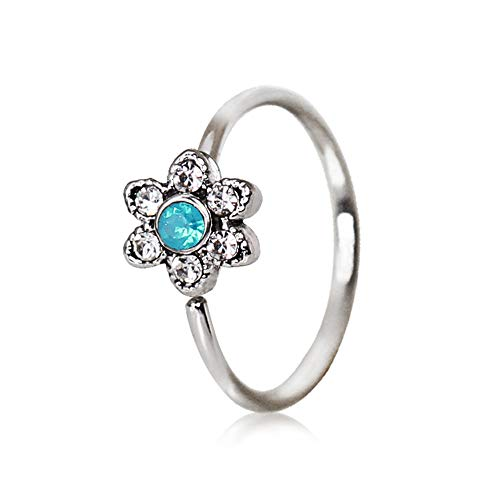 Amelia Fashion 18 Gauge Jeweled Aqua Flower Nose Hoop/Cartilage Ring Annealed 316L Surgical Steel (Aqua & Clear Flower)