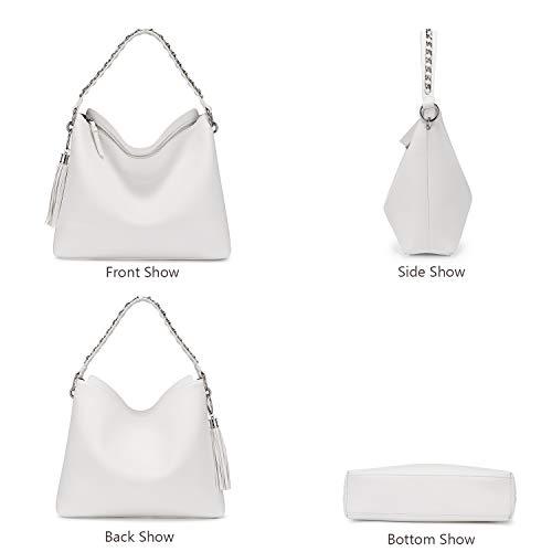 LOVEVOOK Handtaschen Damen Gross Lederimitat Umhängetasche Schultertasche Kunstleder Mit Quasten Designer Tasche Hobo 2er Set kleine Kosmetiktasche Weiß