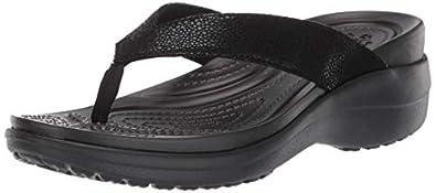 crocs Women's Capri MetallicTxt Wedge Flip W Flip-Flops