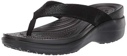 Crocs Women's Capri MetallicText Wedge Flip Flop Black, 9 M US (Crocs Open Toe Wedge)