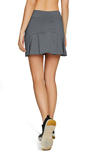 Cityoung Women's Casual Pleated Golf Skirt with Underneath Shorts Running Skortss grey1 by Cityoung (Image #2)