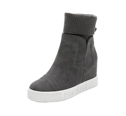 怖がらせる義務づける彫刻[RSWHYY] レディース ブーツ インヒール 韓国スタイル 厚手 保温 カジュアル 毛糸 厚底靴 ミドルブーツ