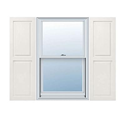 "12"" x 39"" Builders Choice Vinyl Raised Panel Window Shutters, w/Shutter Spikes & Screws (Per Pair), White"