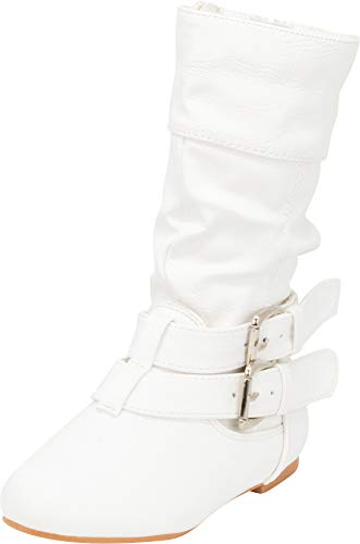Cambridge Select Girls' Wraparound Strappy Buckle Slouch Flat Mid-Calf Boot (Toddler/Little Kid/Big Kid),9 M US Toddler,White PU (Buckle Around Wrap)