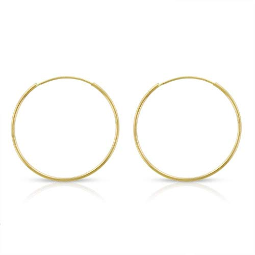 14k Yellow Gold Women's Endless Tube Hoop Earrings 1mm Thick 10mm - 20mm (18mm)