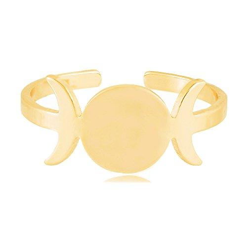 SENFAI Triple Goddess Symbol Women Finger ring Open Size 6 to 9 3 Tone Half Moon Band Jewelry (Gold) ()