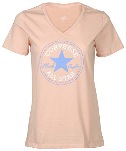 Converse Women's Chuck Taylor Core Patch V-Neck T-Shirt-Dusk Pink-Medium